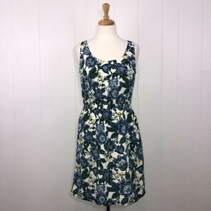 Loft Floral Tank Dress Blue Green 6